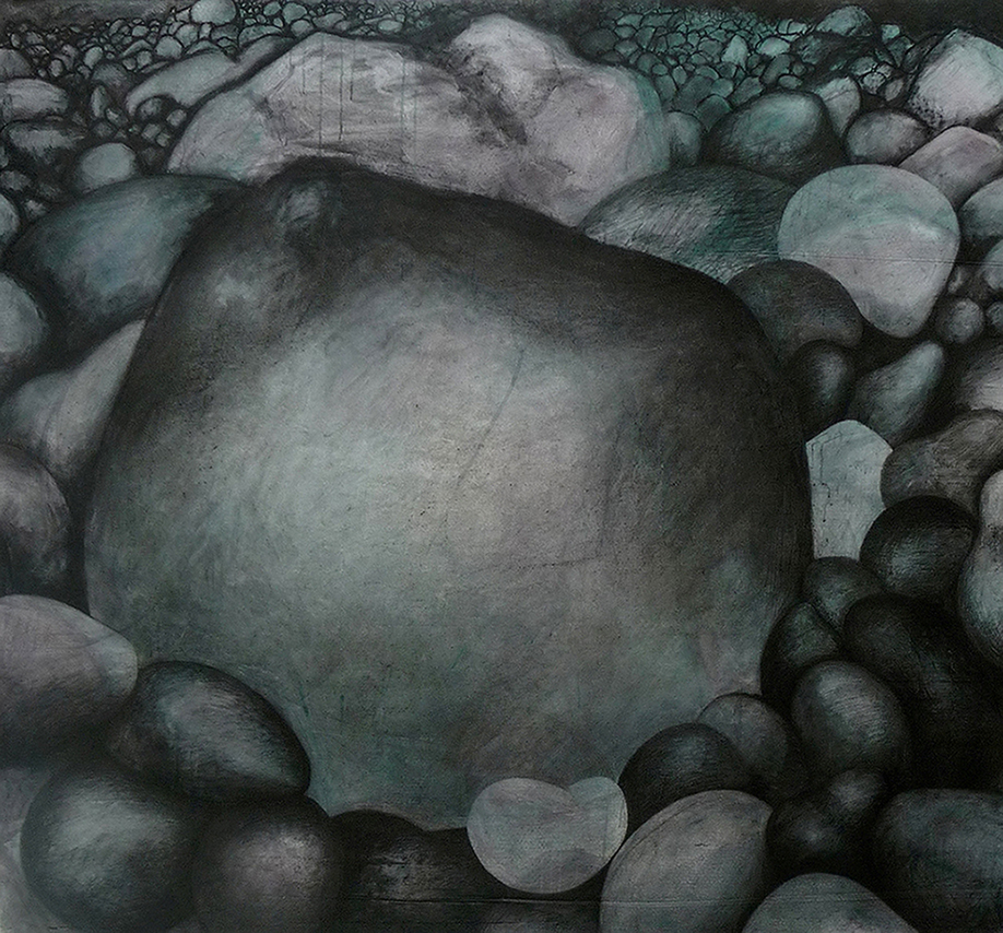 Boulders - Mixed media on canvas, 156 x 143, 2010