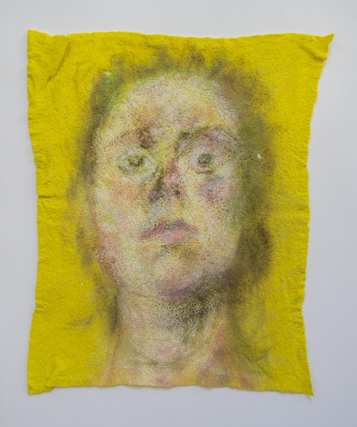 Self-portrait - Mixed media on household cloth, 2014
